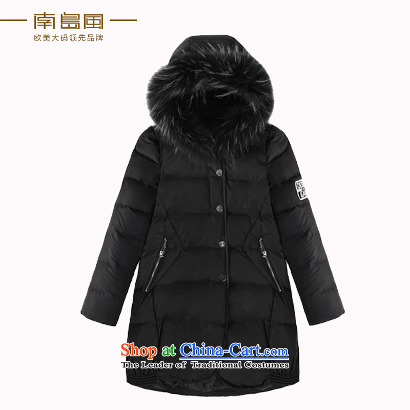 The South Island of New Large wind 2015 Code women thick winter campaign sub-mm gross video thin long-sleeved emulation down cotton coat 茫镁貌芒 black large code 4XL