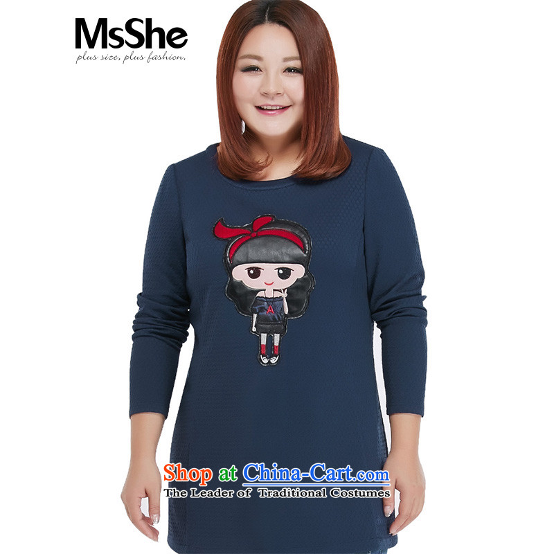 To increase the number msshe women 2015 new fall inside the round-neck collar cartoon long-sleeved shirt 10 380 places skirt MM thick blue�L