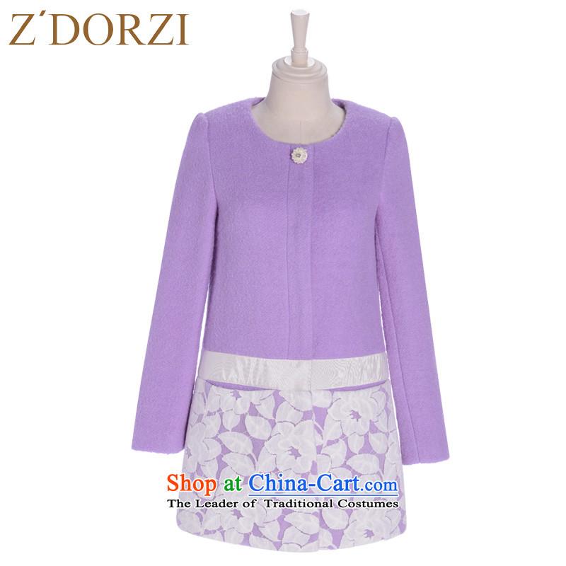 Zdorzi_ colorful Cheuk-yan 2015 autumn and winter new gross female Korean jacket? gauze tick Fa Chuen-coats 928308? Heather燬