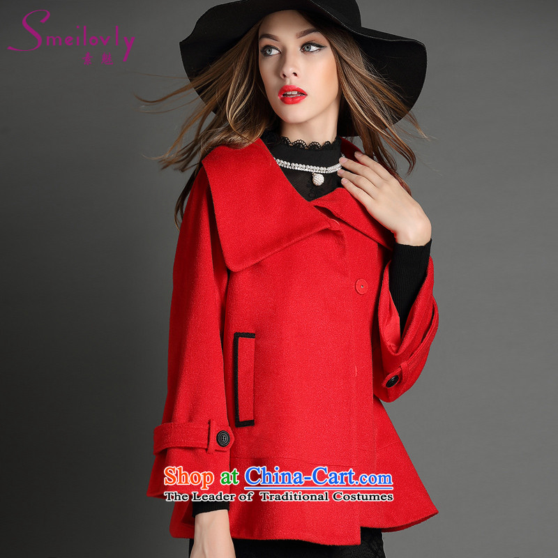 So clearly to xl women 2015 autumn and winter new products thick mm ultra stylish cloak-short of a wool coat jacket燾onference 52燽ig red code 5XL around 922.747 200