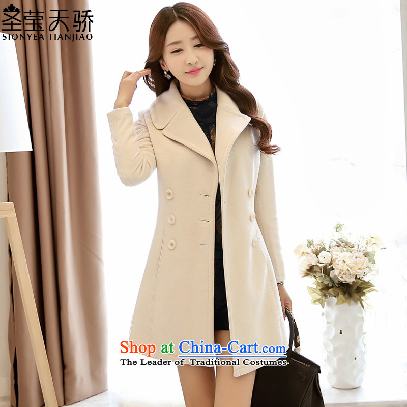 The holy day average 2015 Ying autumn and winter load new small wind Korean Heung-jacket in gross so long a wool coat women Sau San S579 cream聽L