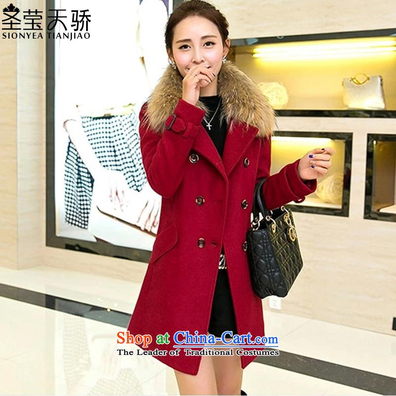 The holy day average 2015 Ying autumn and winter New Women Korean female jacket? Nagymaros Sau San, long-gross? female B582 red cloakM