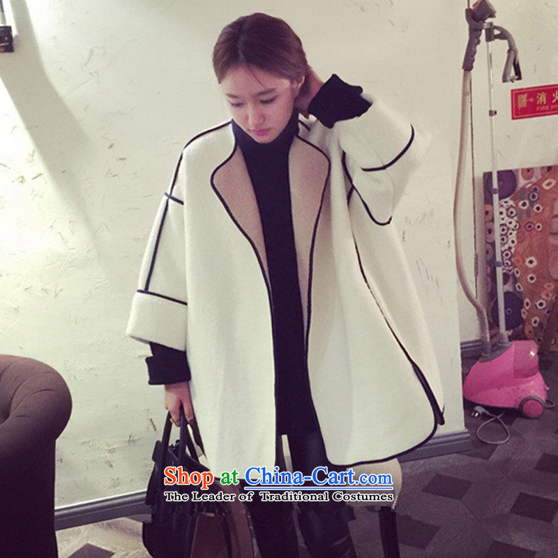 The land of the Advisory Committee, the 2015 Fall_Winter Collections Korean female cocoon coats gross?-winter wind-cashmere thickened small cloak women and seven hours in long-sleeved gross white聽L?