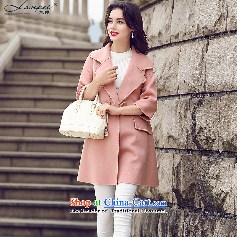 Ho Pui 2015 autumn and winter new Korean small loose incense wind jacket girl in gross? long double-side woolen coat pink聽S
