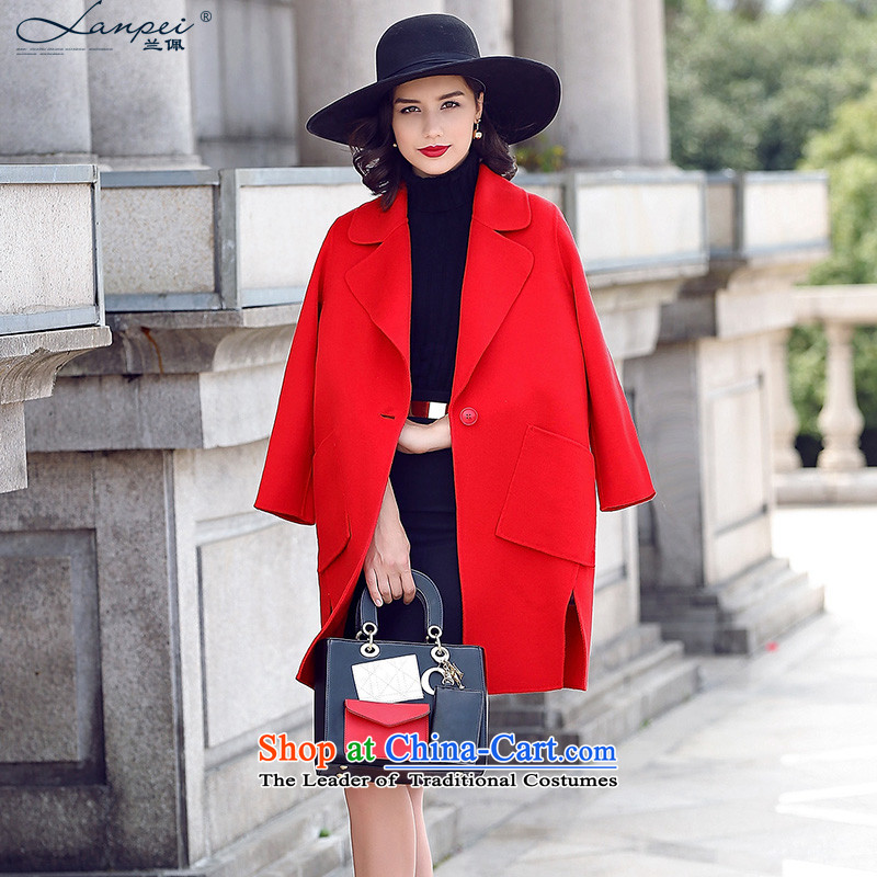 Ho Pui?2015 autumn and winter new cocoon-sided flannel wool a wool coat girl in long hair red jacket??XL