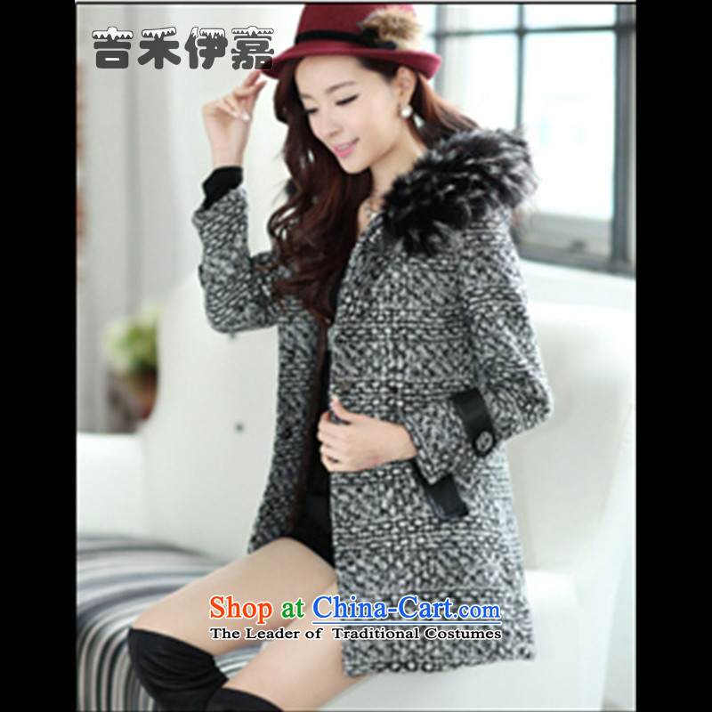 Gil Wo Ika 2015 new Korean fashion tartan sub-coats that long warm-thick hair beauty? topper with, Western,?XL