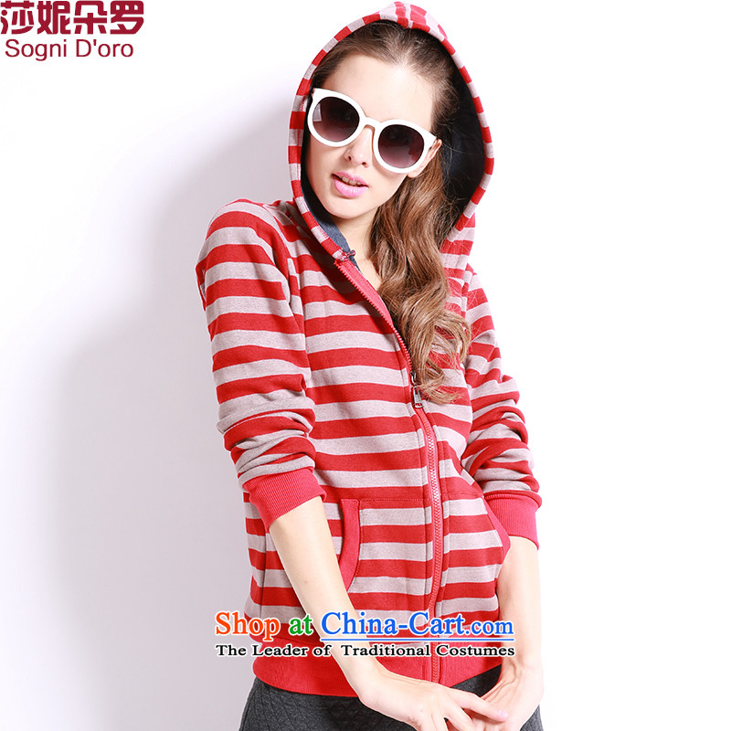 Luo Shani flower code women winter jackets and lint-free thick thick sister to xl thick, Hin thin, thick mm cap sweater 13264 red and white stripes聽4XL