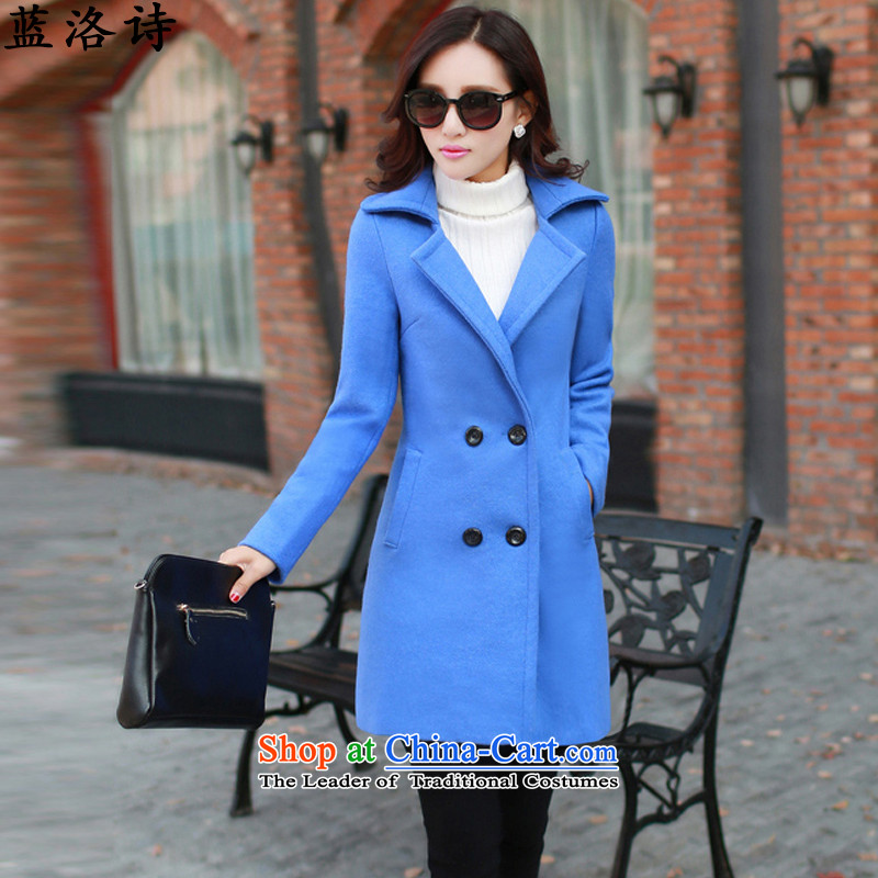 Blue4 poetry 2015 autumn and winter jackets women's gross?   in the Korean version of coats long_? sub-jacket blue L