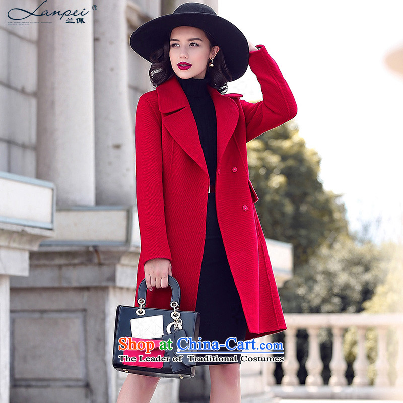 Ho Pui 2015 autumn and winter new two-sided wool a wool coat girl in long Korean citizenry Sau San Mao jacket red pepper聽XL?