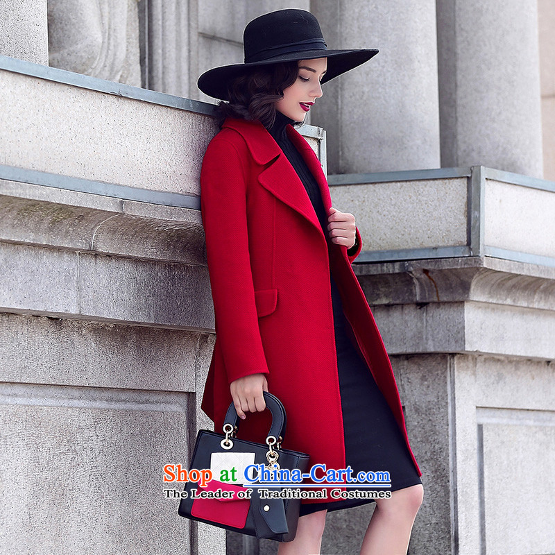 Ho Pui 2015 autumn and winter new two-sided wool a wool coat girl in long Korean citizenry Sau San Mao jacket red pepper?聽XL, Ho Pei (lanpei) , , , shopping on the Internet