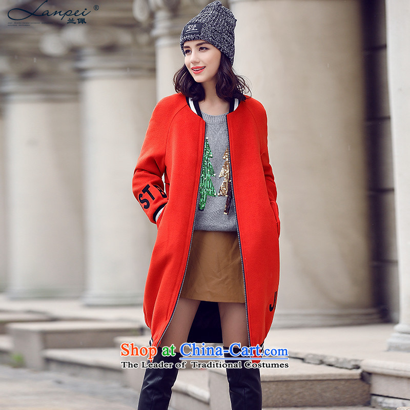 Estimated2015 Autumn Load New Pei) Preppy baseball uniform sweater thin fleece overcoats in this long redL