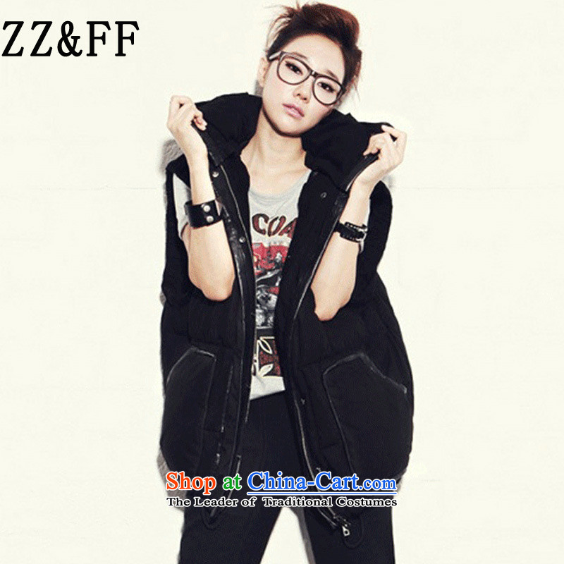 2015 Autumn and winter Zz_ff new Korean large relaxd thick warm with cap. Long cotton, a thin cotton jacket graphics female black�L_ 170-185 for a catty_