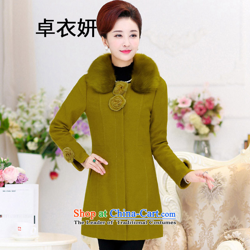 1468_2015 autumn and winter new women's decoration. long wool coat Portuguese mentioned green?燲XL