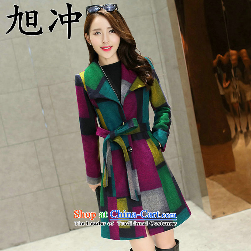 Xu Chong 2015 Ms. boutique winter coats a modern and luxurious quality in Women's Long Hoodie latticed Sau San Mao jacket green M?