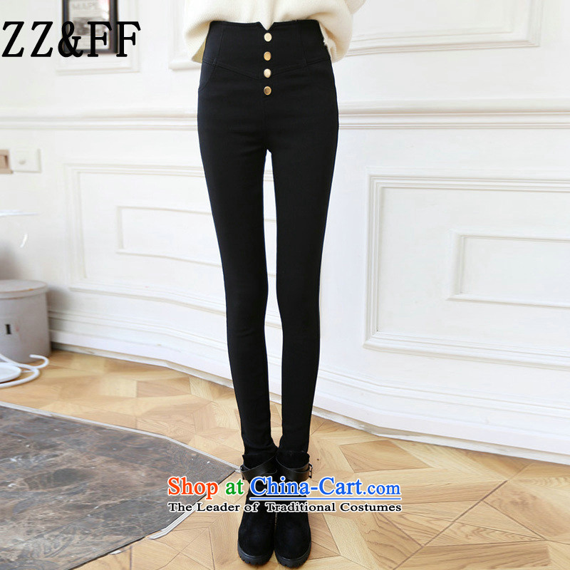 2015 Autumn and winter Zz_ff new Korean large relaxd the lint-free thick pencil Castor, forming the elastic trousers leisure video thin black trousers燲XXL