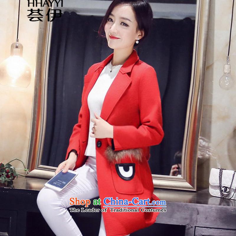 Aloe vera, 2015 winter new Korean female decorated gross? jacket. Long jacket, female HY1247 coat? large red M code