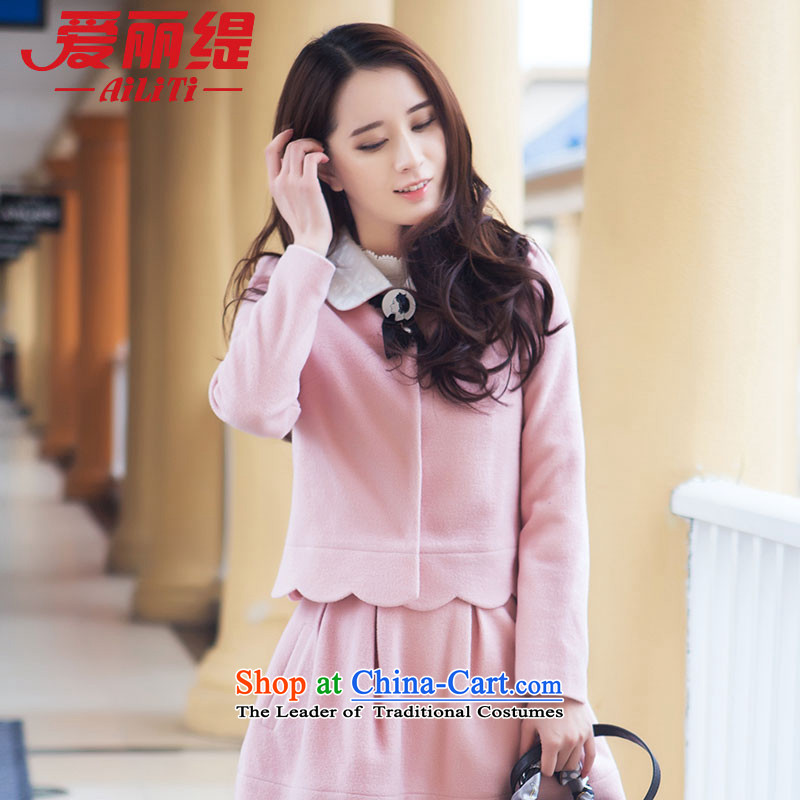 Christy Love 2015 autumn and winter new products ceramic short-jacket_? female Heung-T-shirt? female D3038 gross pink爄ssued on 22 M11