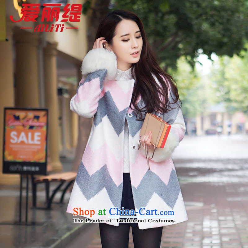 Christy Love 2015 autumn and winter new products in Korean long spell color Maomao cuffs a wool coat gross?.China Coat pink聽S expected issued on 22 November