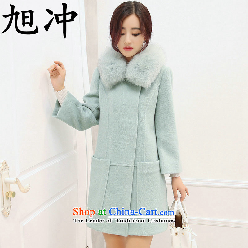 Xu Chong2015 Ms. boutique luxury high-quality of the winter clothes for larger wool coat gross for it? sub-jacket light blueM