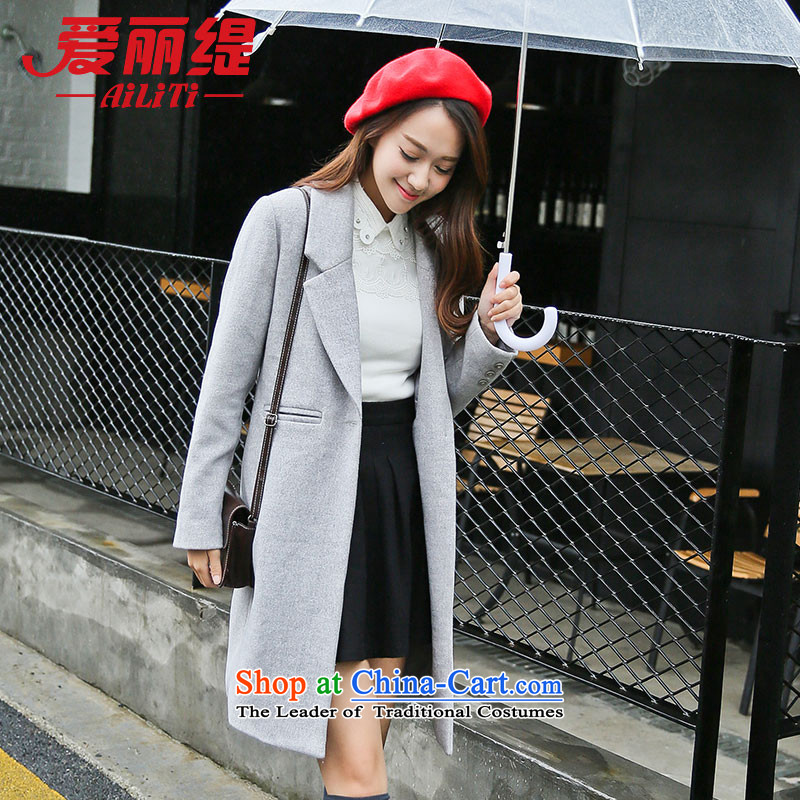 Christy Love 2015 autumn and winter in New Sau San long hair? jacket female retro a wool coat D2901 Light Gray燣