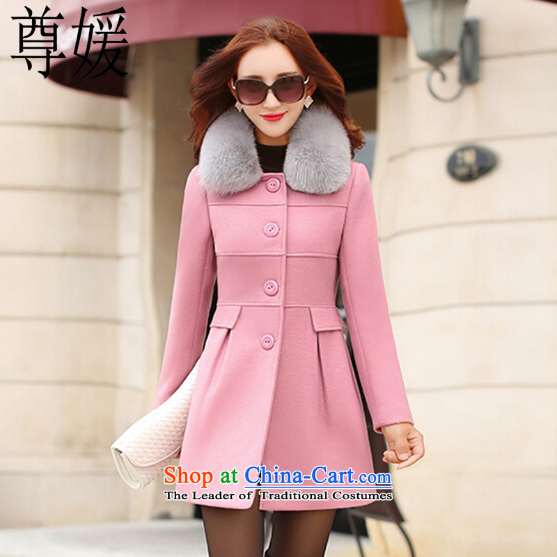 Extreme yuan by 2015 autumn and winter new gross girls jacket? long hair a wool coat Korean female jacket Sau San video thin 5048 pink L
