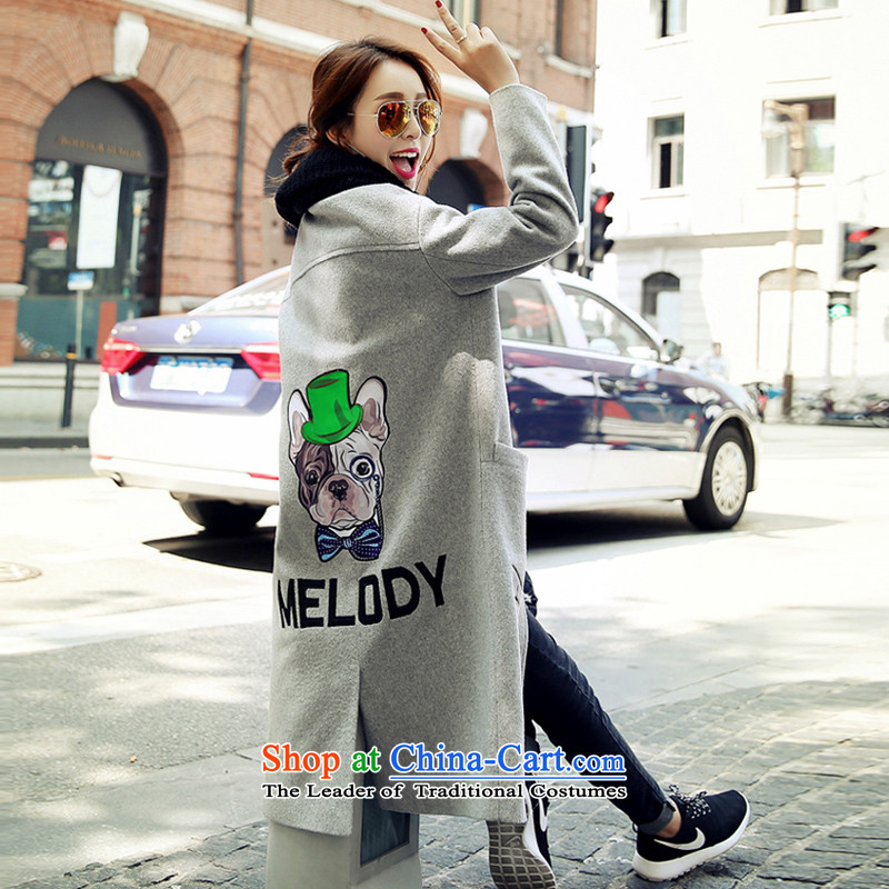Sin has been gross girls jacket? Long 2015 autumn and winter coats women? gross dog pattern letters? jacket female gray hair L