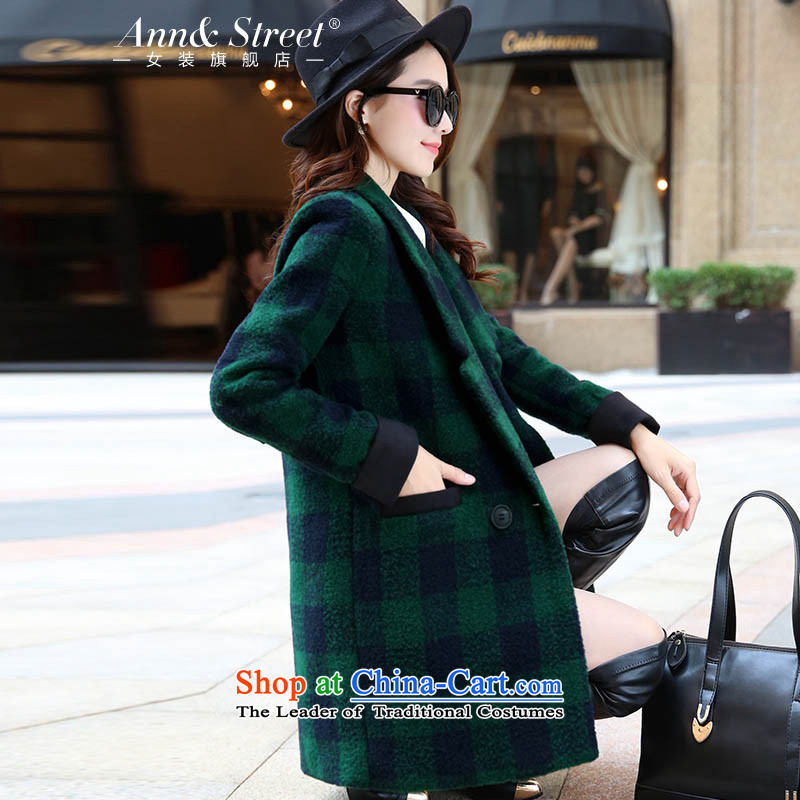 Anne Road?2015 autumn and winter New Women Korean female jacket compartments in gross? Long Sau San video thin a wool coat female Green Grid?XXL