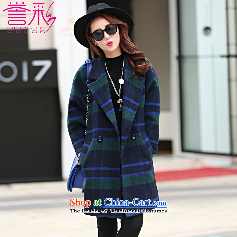 Goodwill is also Fall_Winter Collections 2015 new Korean version of thin temperament, gross? jacket long-ni-coats cocoon T831 GREEN燤