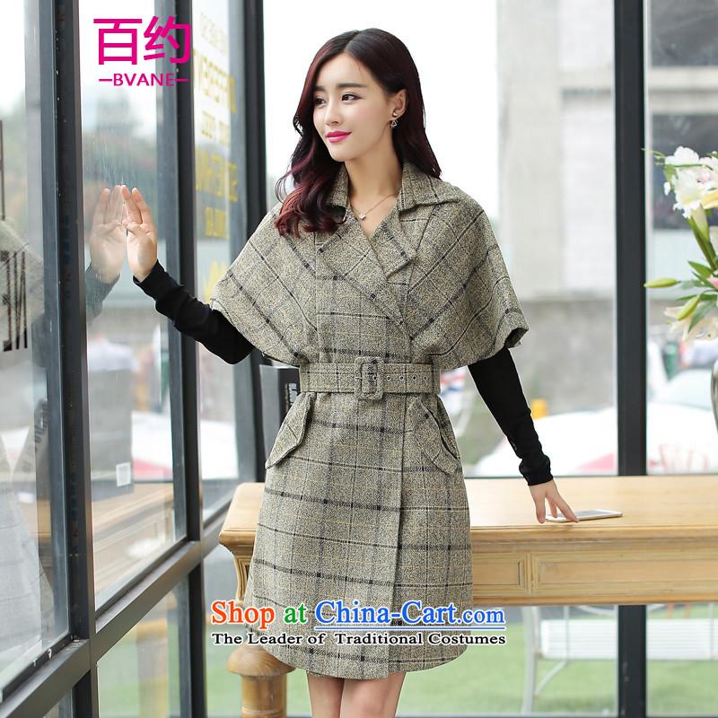 Hundreds of approximately2015 Korean fashion lapel short-sleeved gross? female new winter coats graphics thin plaid jacket khakiM