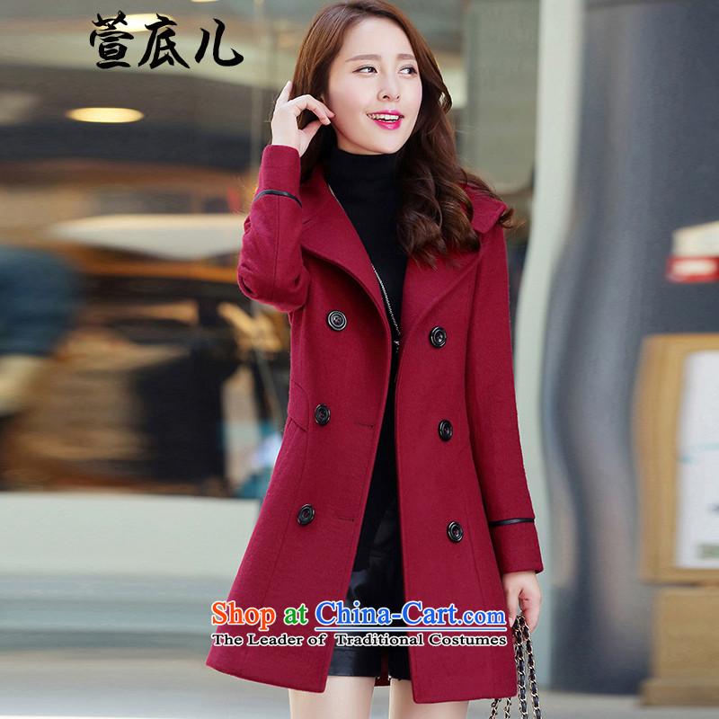 Mavis Fan bottom 2015 autumn and winter new women in Korean long large   code female double-a wool coat gross wine red jacket?L