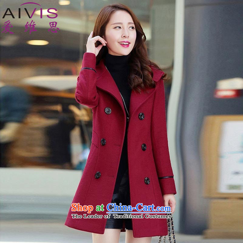 Love Rowse�15 autumn and winter new women in Korean Sau San long double-a wool coat gross wine red jacket?燣