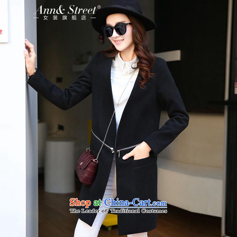 Anne Road gross coats girl in 2015? long graphics thin Sau San a wool coat gross Korean female jacket? windbreaker autumn new women's black燣