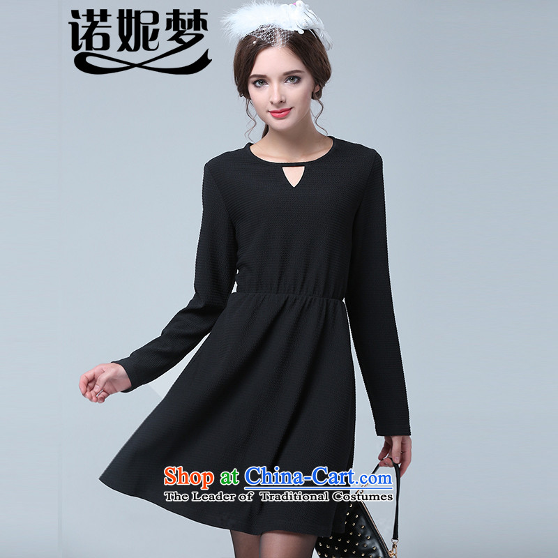 The Ni dream new ultra large 2015 Code women fall to increase expertise with stylish Foutune of video mm thin long-sleeved dresses knitting s1626 black�L