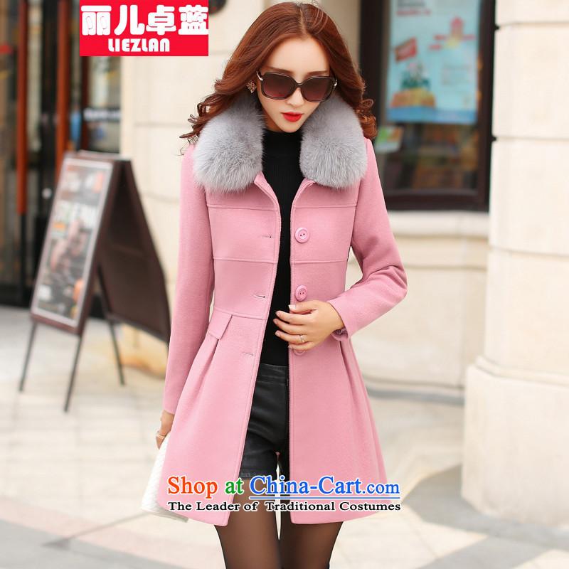 Doris Cheuk-blue2015 autumn and winter new Korean thick a woolen coat jacket in gross? Long Large Pink _gross_ for true M
