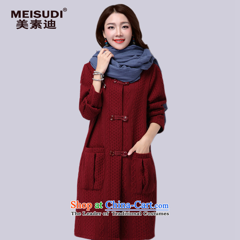 2015 Autumn and Winter Korea MEISUDI version of large numbers of ladies loose video clips in the thick cotton thin long wild loose video thin cardigan jacket red XXL