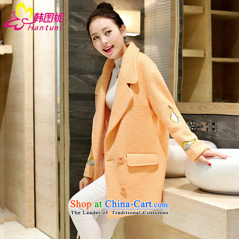 Korean figure Connie autumn and winter 2015 new small wind jacket is Heung gross in long bold Ms. Jacket Wool tweed coats Korean?   Cocoon-loose a wool coat orangeM