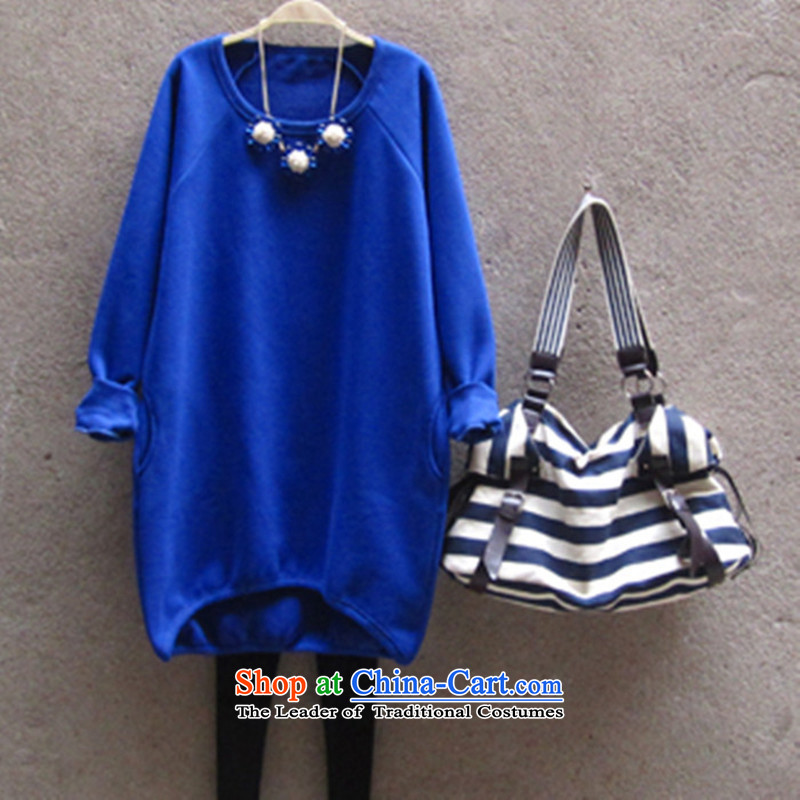 2015 Fall_Winter Collections new Korean to increase women's code thick MM loose, Hin thin, thick thick sister 200 catties, long_ lint-free sweater jacket and blue XL
