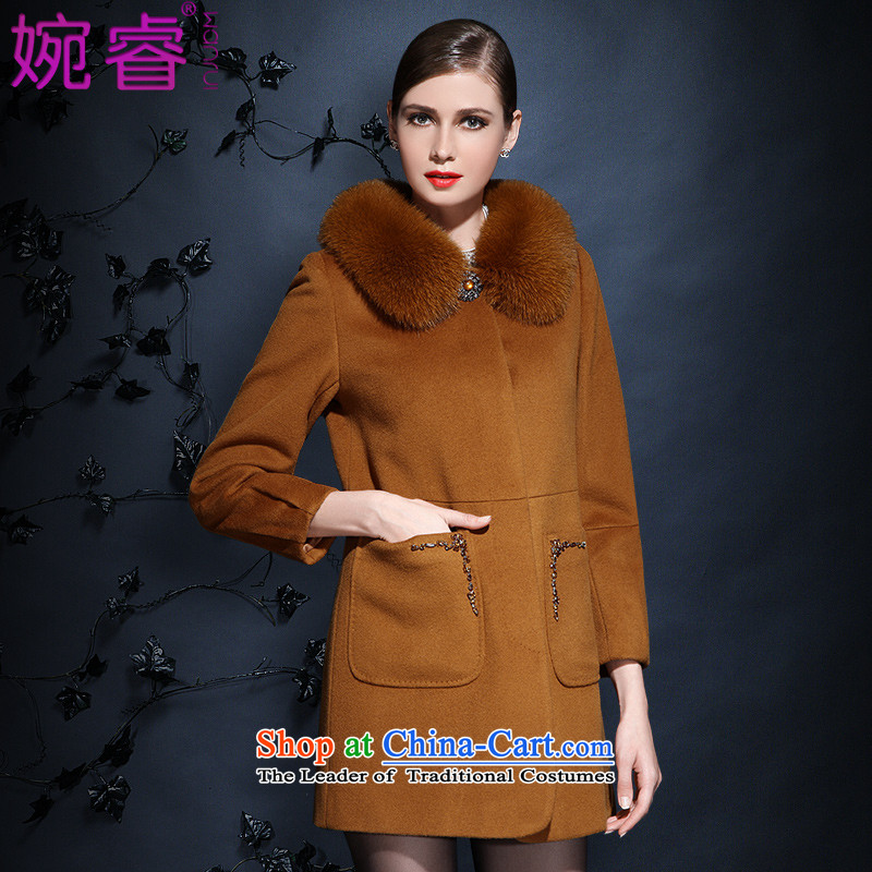 Yuen-Core Women's gross girls jacket? long thin 2015 Sau San video winter clothing new Korean Fox gross washable wool coat female Kim and then color L