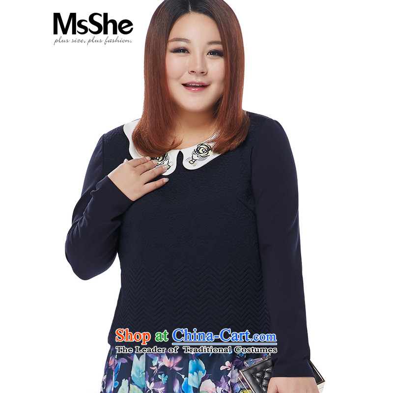 Msshe xl women 2015 new winter clothing sweet knit jacquard shirt was 10,581 Blue 3XL