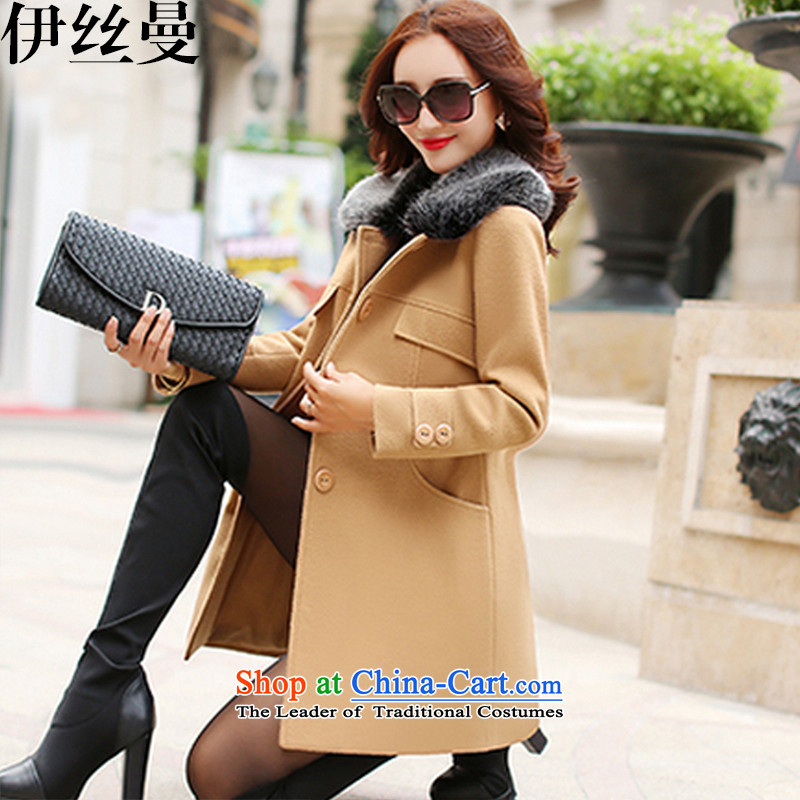 El Wire Cayman 2015 autumn and winter new products Women warm gross a wool coat khaki FF5047 M code
