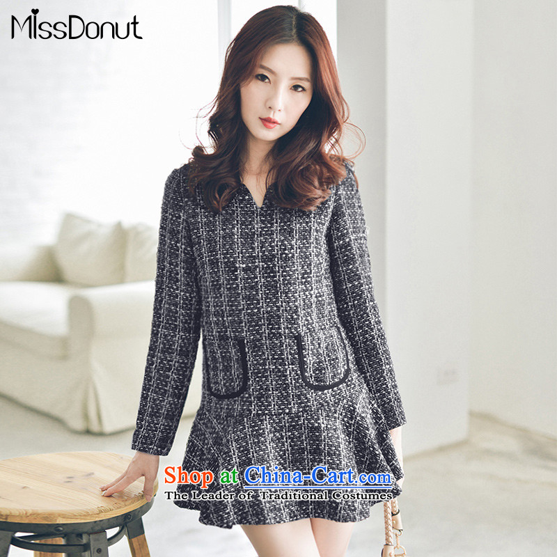 To increase the number missdonut small wind-skirts incense autumn and winter thick mm sister Korean women who thick video thin gross? dresses 200 catties large gray code XXL recommendations 150-175 catty