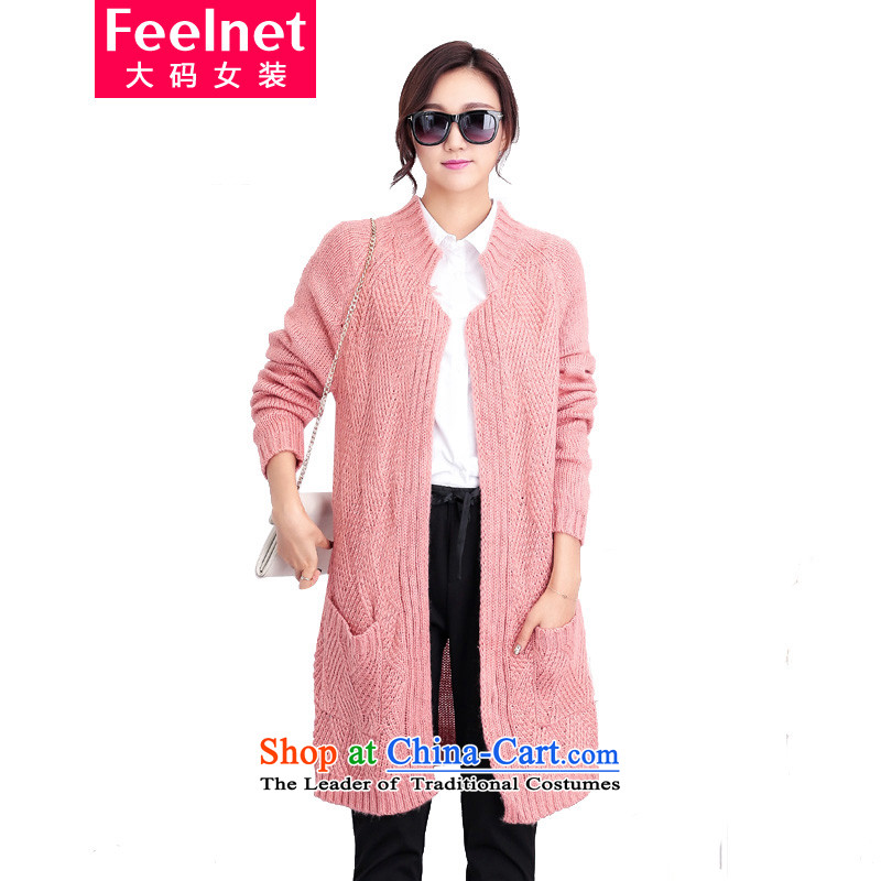 Thick mm autumn load feelnet to increase women's code for winter loose version won long female Cardigan Knitted Shirt jacket G51 pink 3XL code