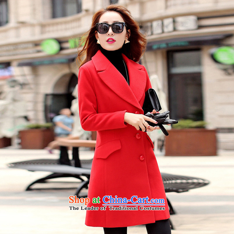 The Korean version of the sleek and versatile pure colors of red coats of Sau San燤