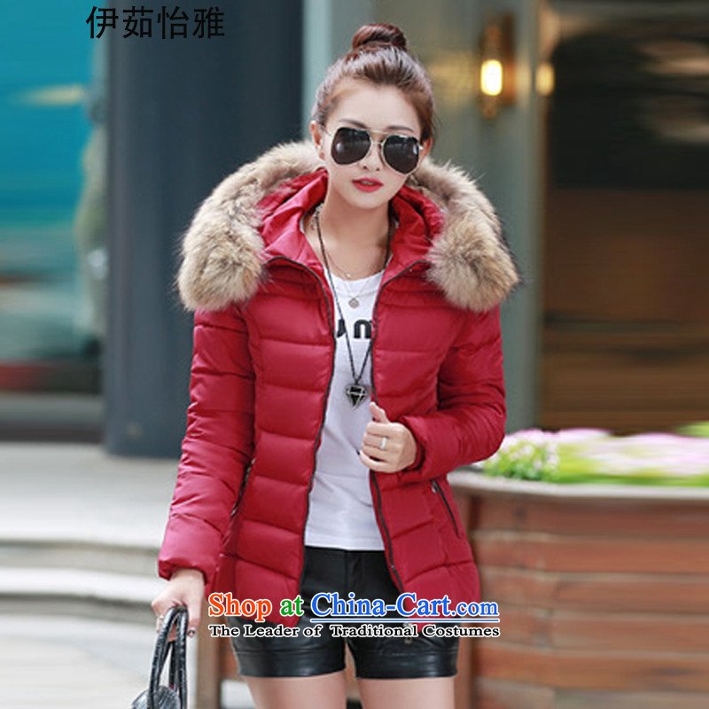 El-ju Yee Nga new thin and light winter 2015 mm thick cotton robe of sister short larger female cotton coat 1623 Red emulation for XXXL140 gross catty -155 catty