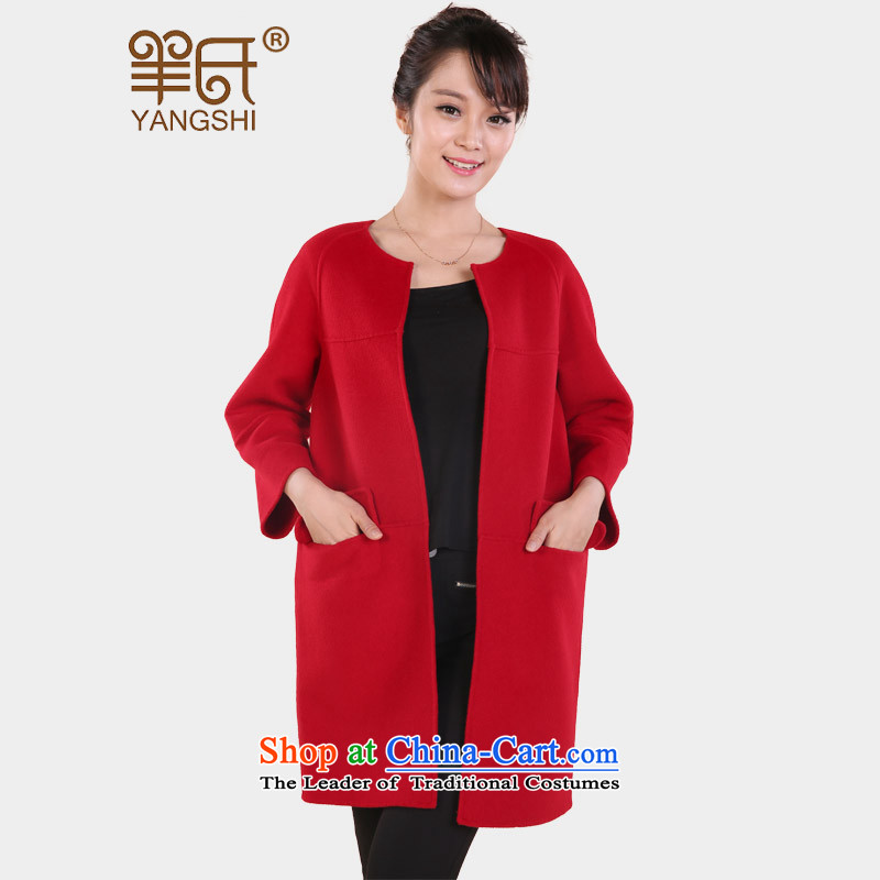 Cashmere overcoat wool sheep's coats female winter 2015? the new winter coats in long hair?_ wool coat large red L_165?