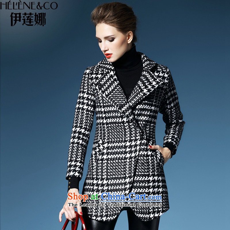 El Nina 2015 winter new wool a wool coat chidori. Long thick jacket double-checked?S_155 female
