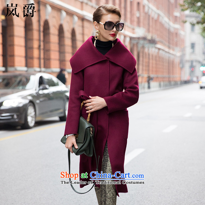 The sponsors of the爊ew two-sided 2015 Baroness cashmere overcoat female plain manual duplex? Long Korean figures rose drastically jacket? gross wine red燬