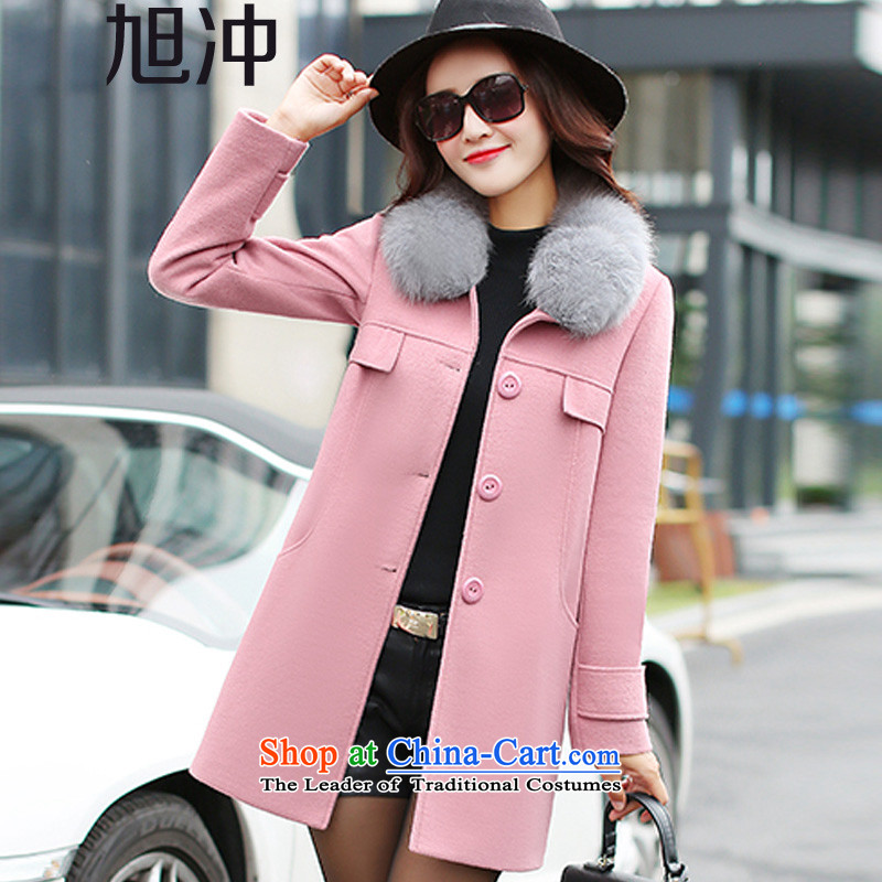Xu Chong 2015 winter new women's gross for Korean female decorated gross? Who jacket single row is long leave pocket leather coats? pink L code
