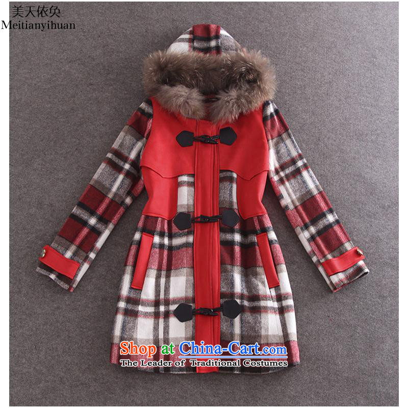 The European Women's site autumn and winter new English style with cap horns deduction tattoo loose cotton wool? jacket folder FZ71 RED燣