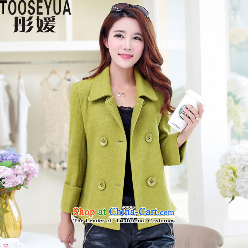 Tong yuan by 2015 autumn and winter new graphics thin hair so Sau San jacket female short, double-a wool coat C105 olive L